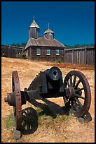 Cannon and Russian chapel inside Fort Ross. Sonoma Coast, California, USA