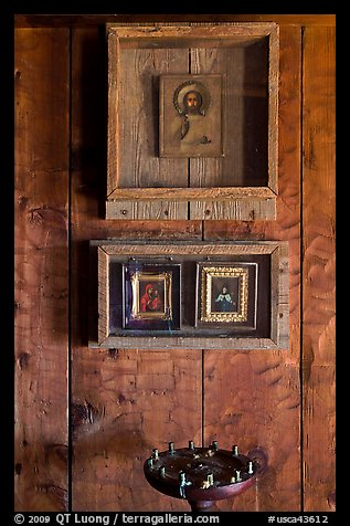 Christian orthodox icons, Fort Ross Historical State Park. Sonoma Coast, California, USA (color)