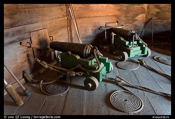 Cannons inside gun room,  Fort Ross Historical State Park. Sonoma Coast, California, USA (color)