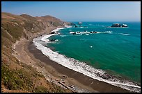 Beach and turquoise waters, late summer. Sonoma Coast, California, USA (color)