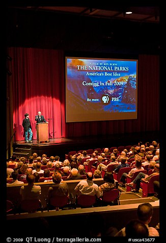 Dayton Duncan and Ken Burns present new  film, Cowell Theater, Fort Mason Center. San Francisco, California, USA (color)