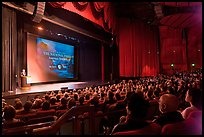 Palace of Fine Arts Theater, with Dayton Duncan presenting new documentary film. San Francisco, California, USA (color)