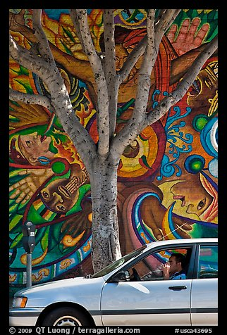 Man smoking in car, tree, and mural, Mission District. San Francisco, California, USA (color)