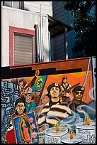 Political mural and facade detail, Mission District. San Francisco, California, USA (color)