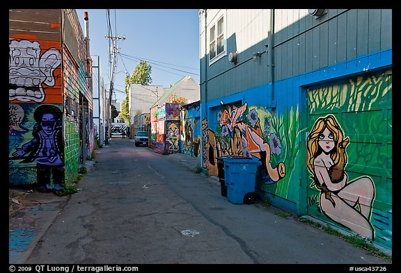 Alley (Lilac) with many murals and decorated garage doors, Mission District. San Francisco, California, USA (color)