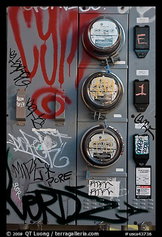 Utility meters, Mission District. San Francisco, California, USA (color)