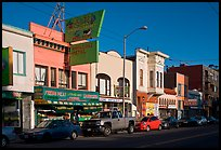 Shops, Mission Street, late afternoon, Mission District. San Francisco, California, USA ( color)
