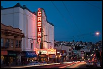 Castro Theater and Castro Street at dusk. San Francisco, California, USA (color)