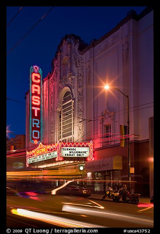 Light blurs and Castro Theater at night. San Francisco, California, USA (color)