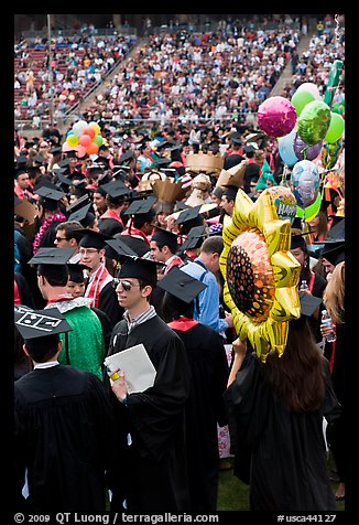 Graduating students celebrating commencement. Stanford University, California, USA (color)