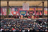 University President addresses graduates during commencement. Stanford University, California, USA ( color)