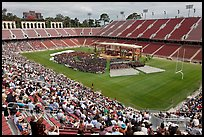 Commencement taking place in stadium. Stanford University, California, USA ( color)