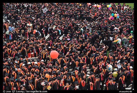 Mass of graduates in academic robes. Stanford University, California, USA (color)