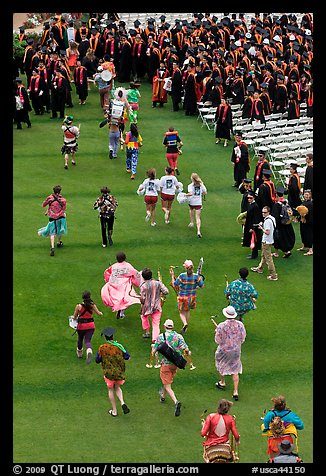 Band members run at the end of commencement ceremony. Stanford University, California, USA (color)