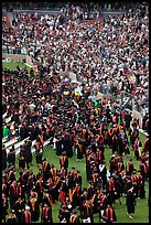 Graduates gather in front of family and friends after commencement. Stanford University, California, USA ( color)