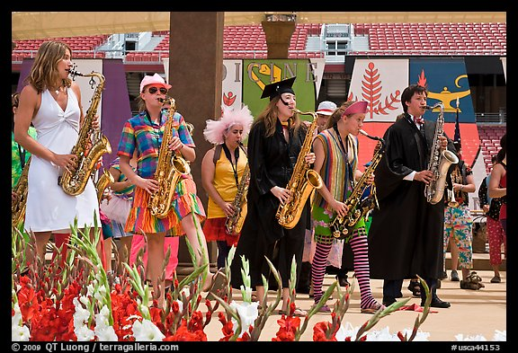 Stanford student band, commencement. Stanford University, California, USA (color)