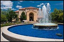 Fountain and Memorial auditorium. Stanford University, California, USA ( color)