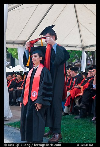 Professor confers doctoral scarf to student. Stanford University, California, USA (color)