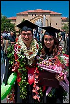 Graduates wearing flower garlands. Stanford University, California, USA ( color)