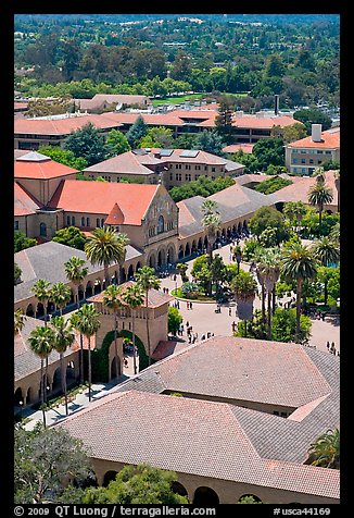 Memorial Church and Quad seen from above. Stanford University, California, USA (color)