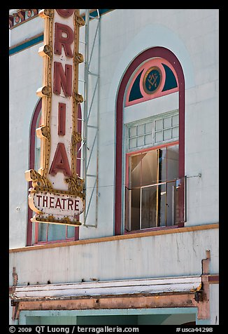 California Theater facade detail, Dunsmuir. California, USA (color)