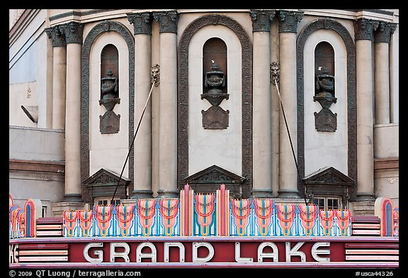 Detail of art deco facade, Grand Lake theater. Oakland, California, USA (color)