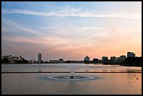 Lake Meritt, aeration fountain at sunset. Oakland, California, USA (color)