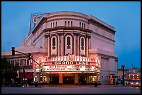 Grand Lake theater at dusk. Oakland, California, USA (color)