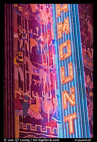 Neon lights and art deco mosaic, Paramount Theater. Oakland, California, USA