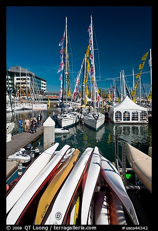 Kayaks and yachts, Jack London Square. Oakland, California, USA (color)