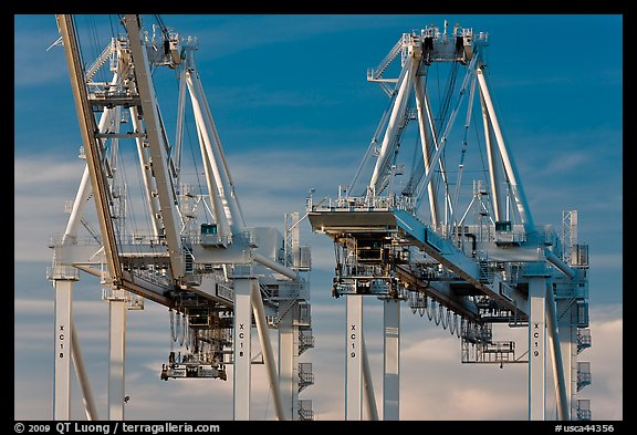 Container cranes, Port of Oakland. Oakland, California, USA (color)