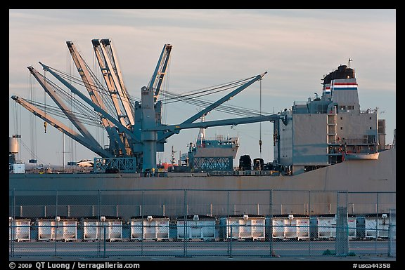 Freight Vessel with cranes. Alameda, California, USA (color)