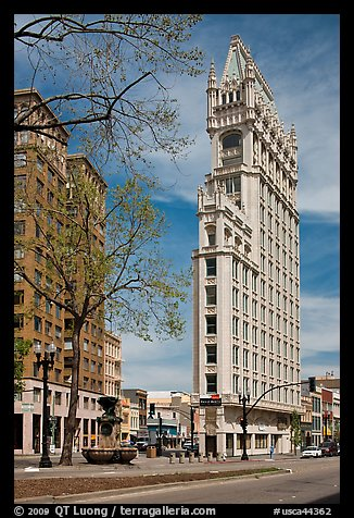 Historic flatiron building called Cathedral Building. Oakland, California, USA (color)
