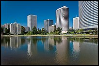High rise buildings on Lake Merritt shores. Oakland, California, USA ( color)