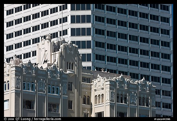 Historic and modern high rise buildings. Oakland, California, USA (color)