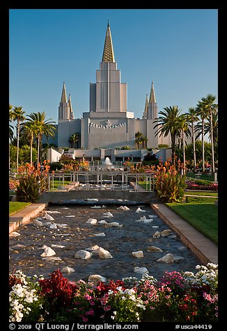 Oakland Mormon temple and grounds. Oakland, California, USA (color)