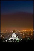 Oakland california temple and SF Bay by night. Oakland, California, USA ( color)