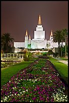 Oakland LDS temple and grounds by night. Oakland, California, USA (color)