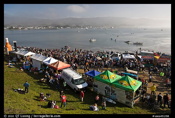 Pilar point during maverics surfing contest. Half Moon Bay, California, USA (color)