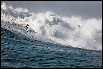 Surfing Mavericks. Half Moon Bay, California, USA ( color)