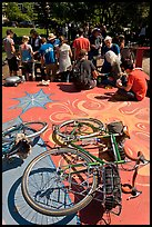 Bicycles and food line, Peoples Park. Berkeley, California, USA (color)