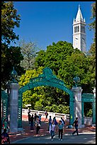 Sather Gate and Campanile, UC Berkeley. Berkeley, California, USA (color)