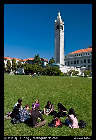 Students on lawn with Campanile in background. Berkeley, California, USA (color)