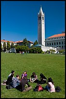 Students on lawn with Campanile in background. Berkeley, California, USA ( color)