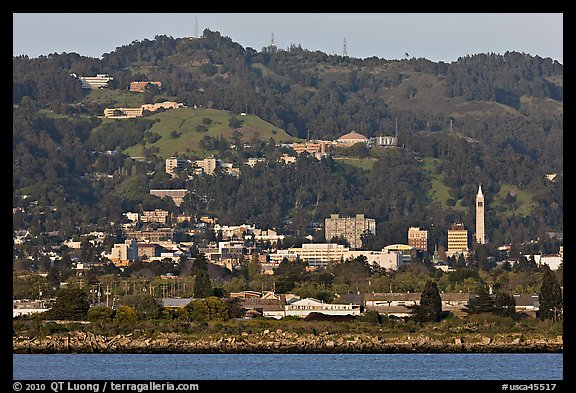 Berkeley hills seen from the Bay. Berkeley, California, USA (color)