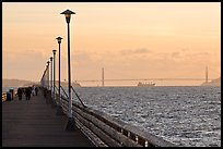 Berkeley Pier and Golden Gate Bridge at sunset. Berkeley, California, USA (color)