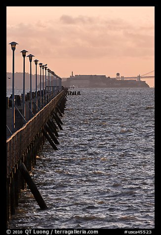 Berkeley Pier and Alcatraz at sunset. Berkeley, California, USA (color)