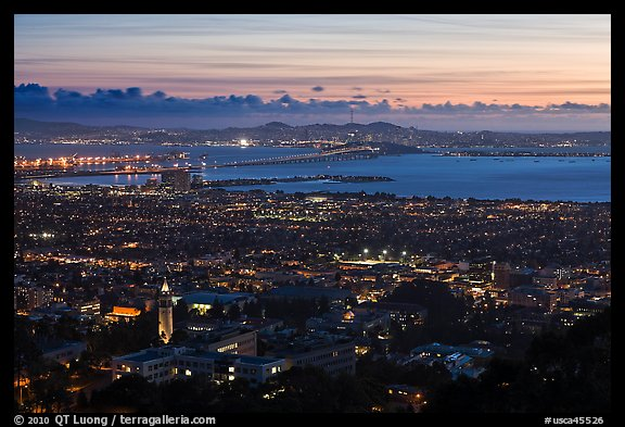 University and city at sunset. Berkeley, California, USA (color)