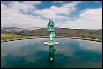 Reflecting pool and sculpture, Artesa Winery. Napa Valley, California, USA ( color)