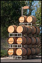 Barels of wine stacked outside, Artesa Winery. Napa Valley, California, USA (color)